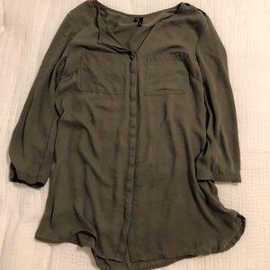 Olive green sheer blouse